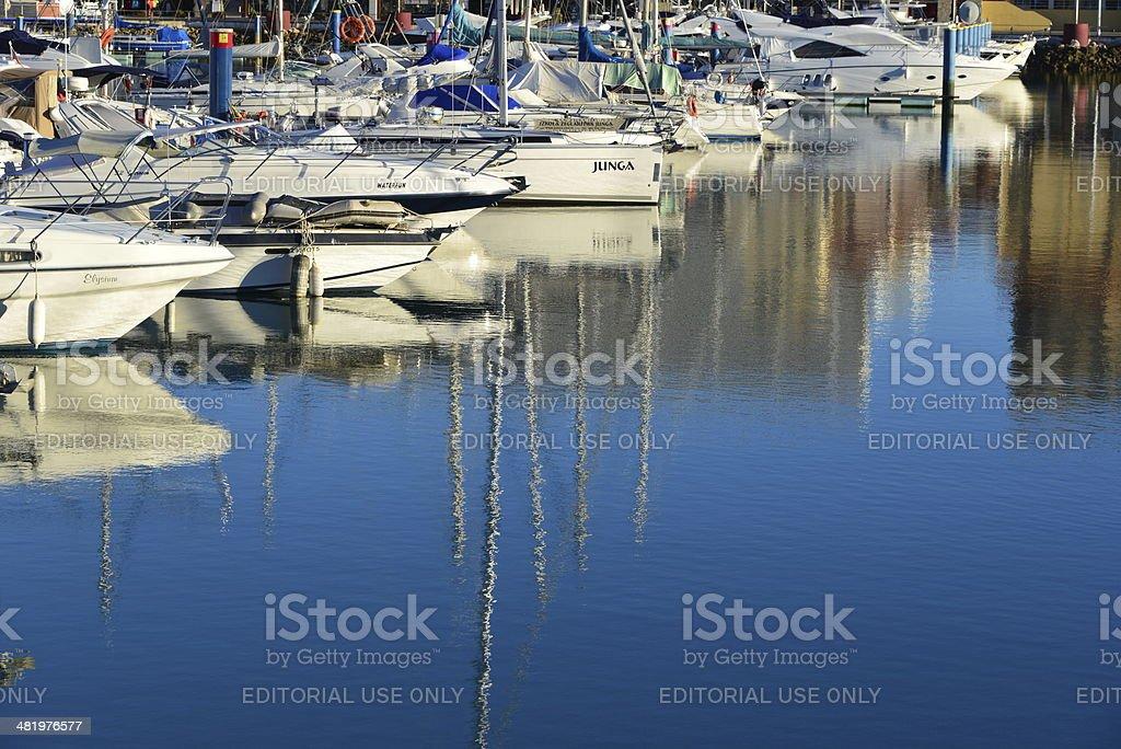 Reflections at Vilamoura Marina, Algarve, Portugal royalty-free stock photo