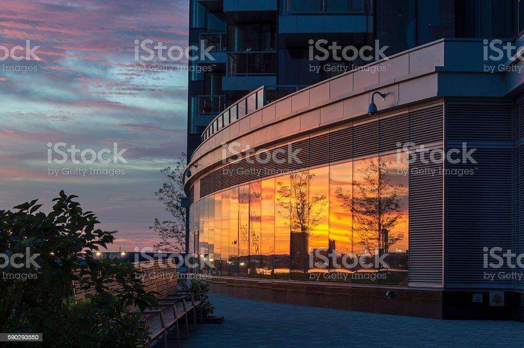 Reflections Boston sunrise royaltyfri bildbanksbilder