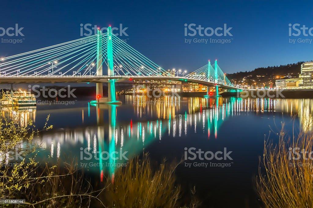 Reflections Illuminated Tilikum Crossing  Portland Oregon Willamette River Evening HDR stock photo