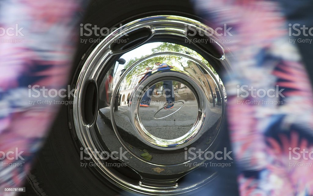 Reflections in a hub cap stock photo