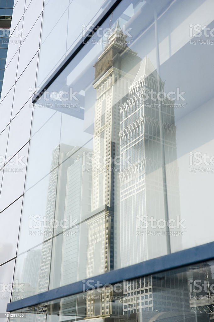 reflections in a modern building downtown Dubai royalty-free stock photo