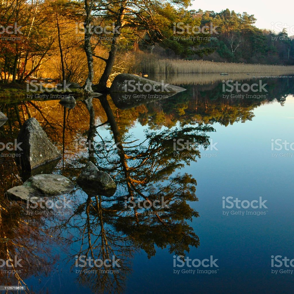 Reflections in a mountain lake stock photo