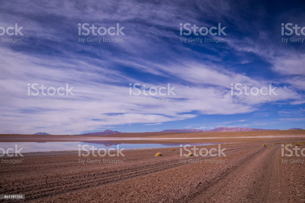 Reflections in altiplano, Bolivia stock photo