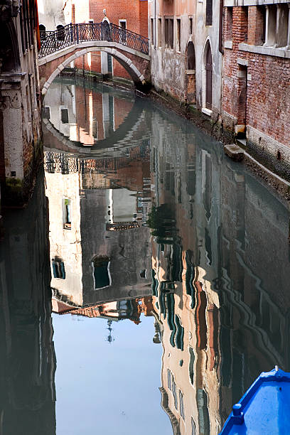 Reflections in Canal  Venice Italy stock photo