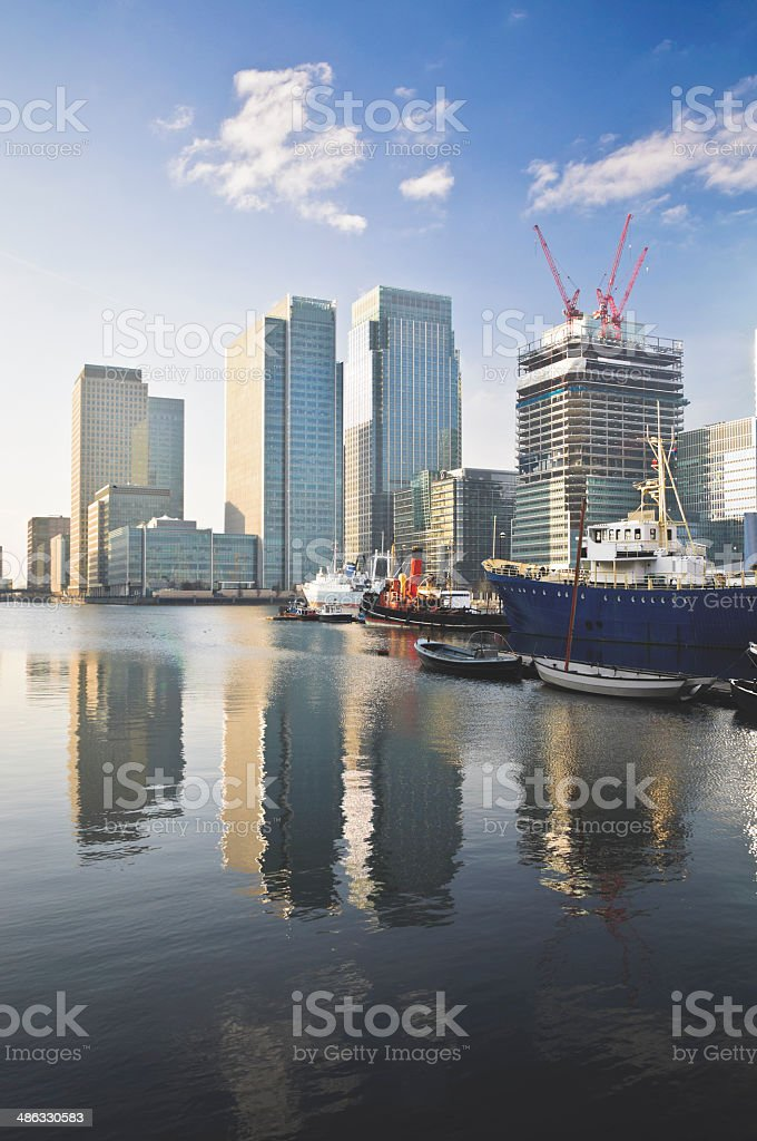 Reflections in Canary Wharf marina stock photo