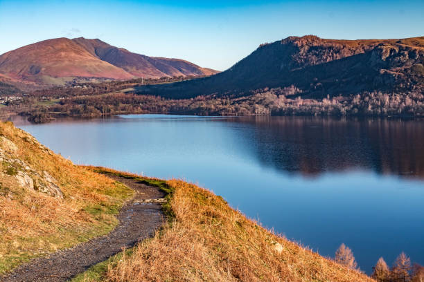 Reflections in Derwent Water, Cumbria stock photo