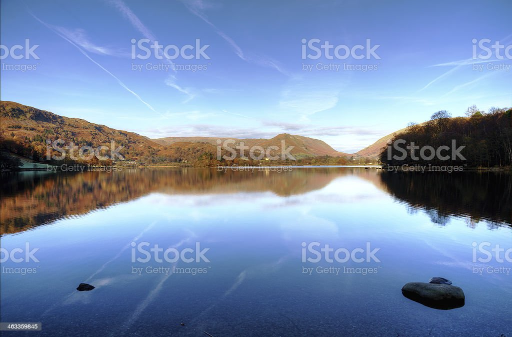 Reflections in Grasmere stock photo