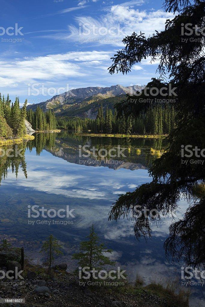Reflections in Horseshoe Lake at Denali National Park, Alaska stock photo
