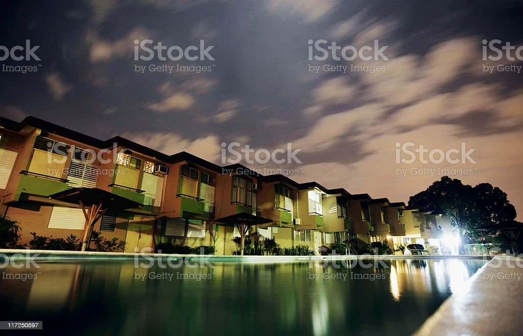 reflections in the night stock photo