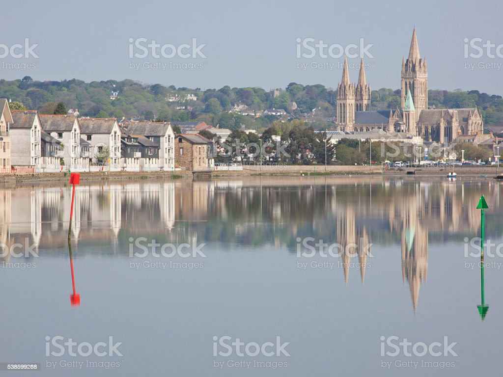 Reflections in the river at Truro stock photo