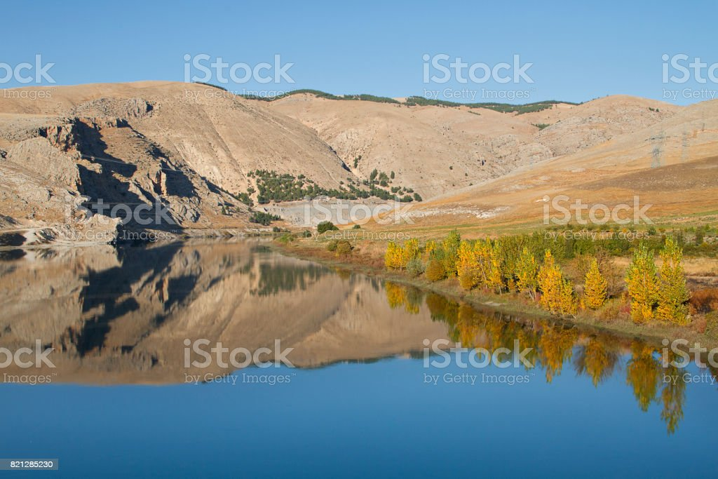 Reflections in the River Euphrates, Turkey. stock photo