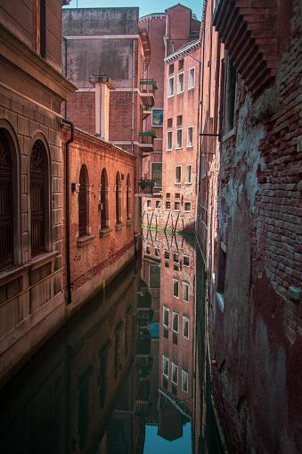Reflections in the Venetian gondolas