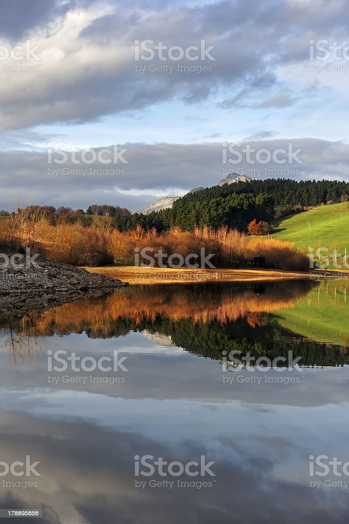 Reflections in Urkulu reservoir at sunset royalty-free stock photo