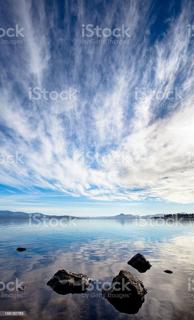 Reflections of a dramatic sky in Patagonia royalty-free stock photo