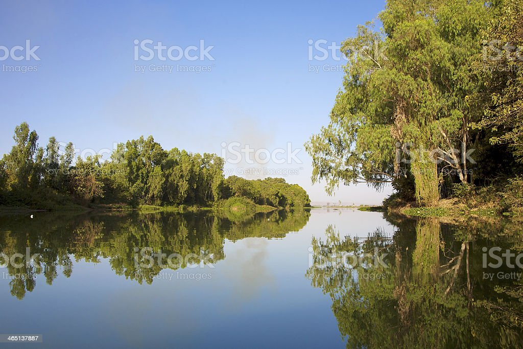 Reflections of a river on a clear day stock photo