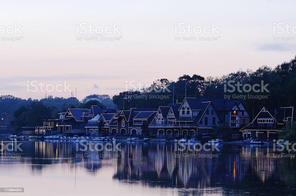 Reflections of boathouse row in Philadelphia stock photo