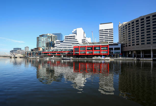 Reflections of Melbourne skyline stock photo