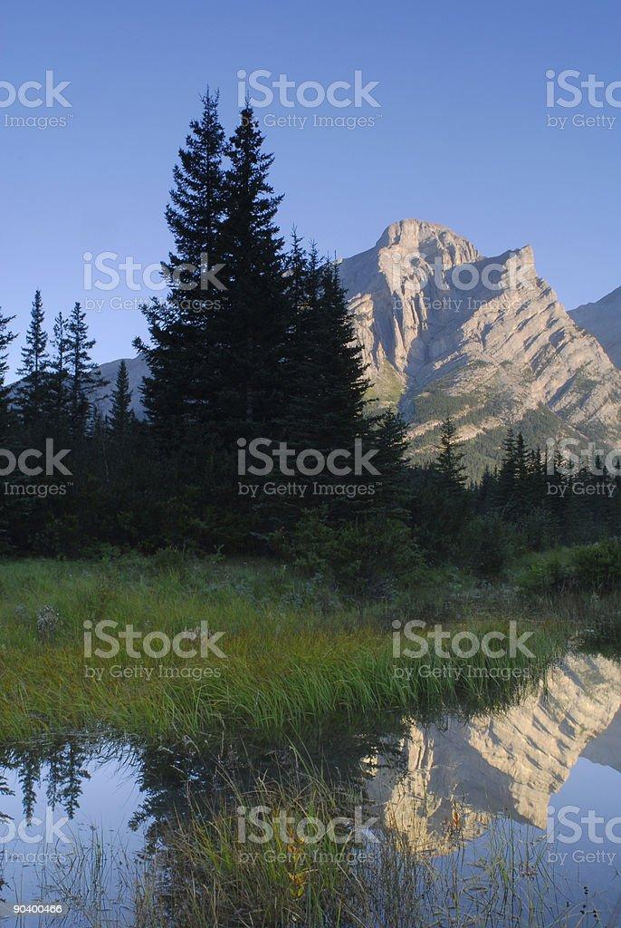 Reflections of Mount Kidd stock photo