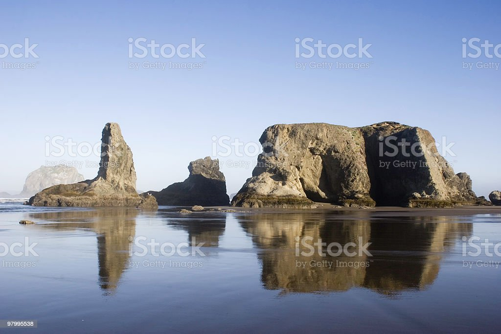 Reflections of Sea Stacks royalty-free stock photo