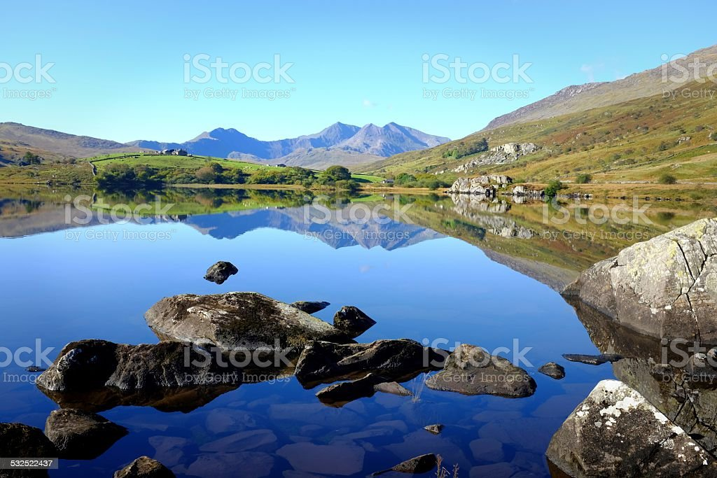 Reflections of Snowdonia stock photo