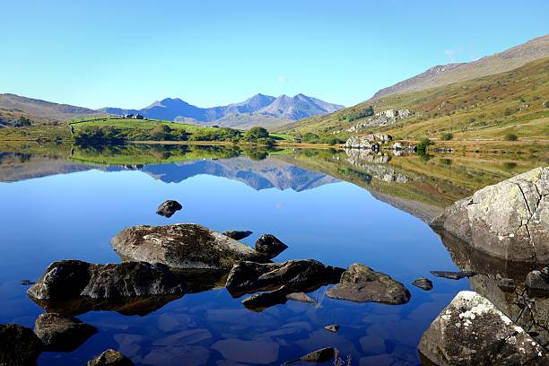Reflections of Snowdonia stock photo