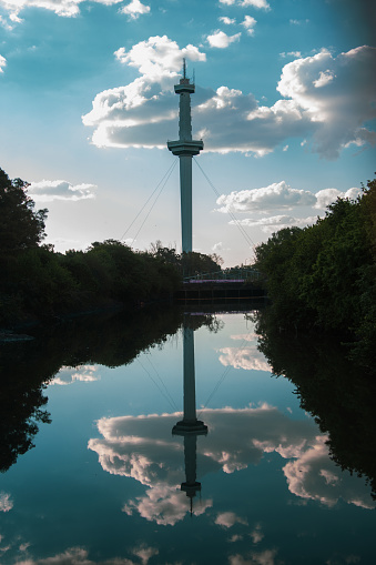 Reflections of the city tower
