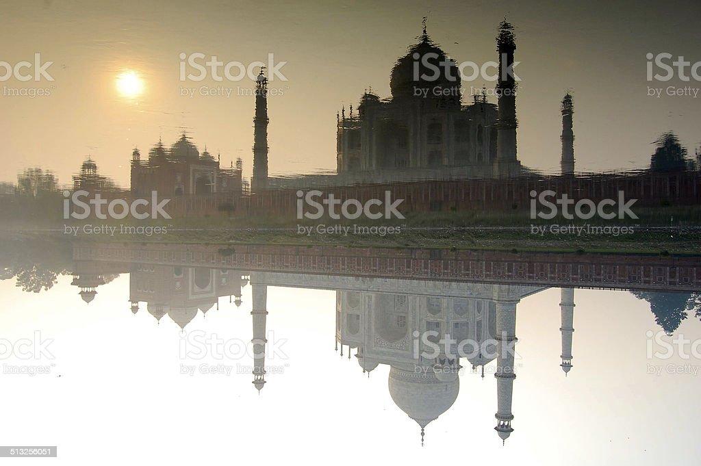 Reflections of the Taj, Agra, India stock photo