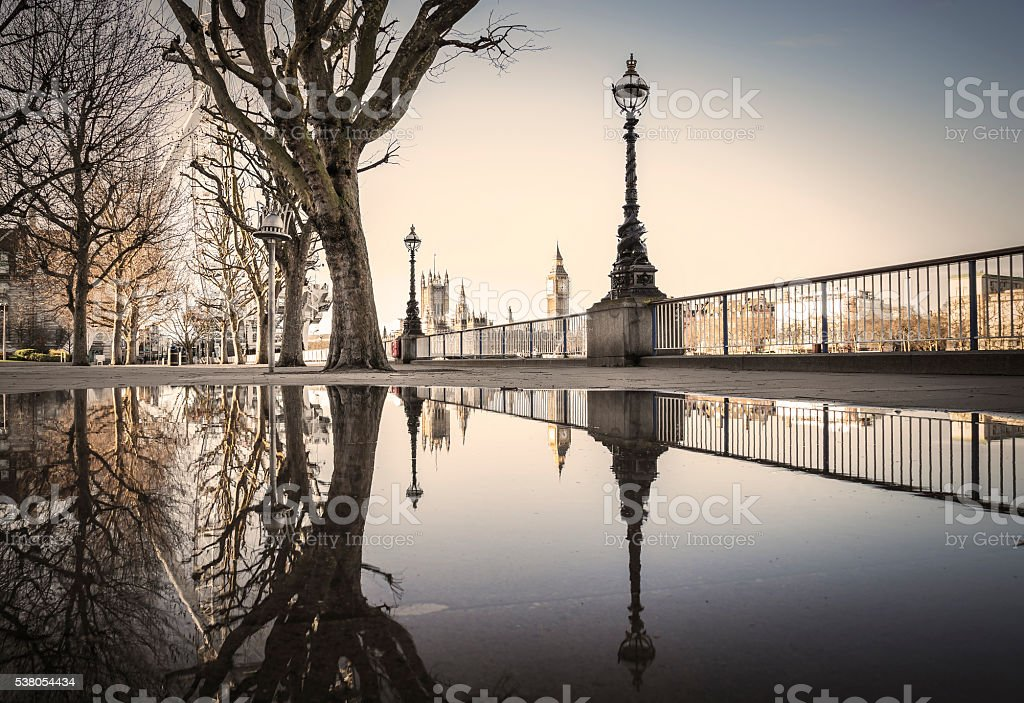 Reflections of the The Big Ben and Houses of Parliament, London stock photo