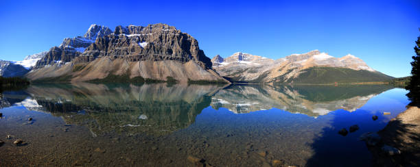 Reflections on Bow Lake, Banff National Park, Alberta, Canada stock photo