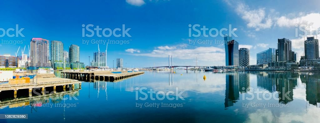 Reflections  on Docklands stock photo