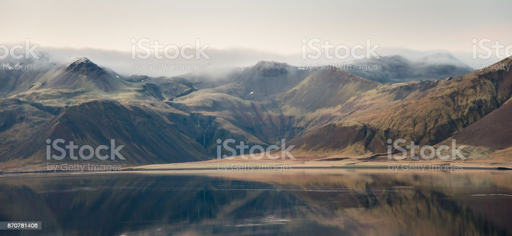 Reflections on mountains stock photo