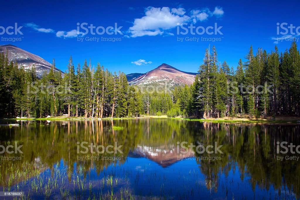 Reflections on the Lake at Yosemite National Park, USA stock photo