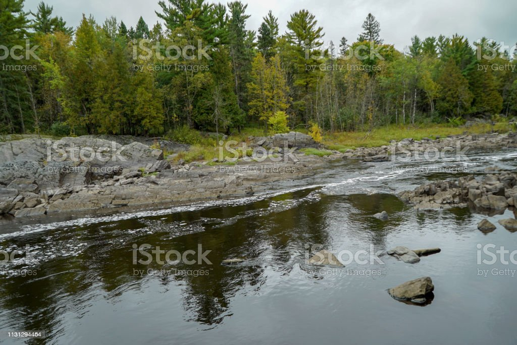 Reflections on the St. Louis River at Jay Cooke State Park stock photo