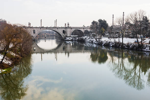 Reflections on the Tiber river. stock photo