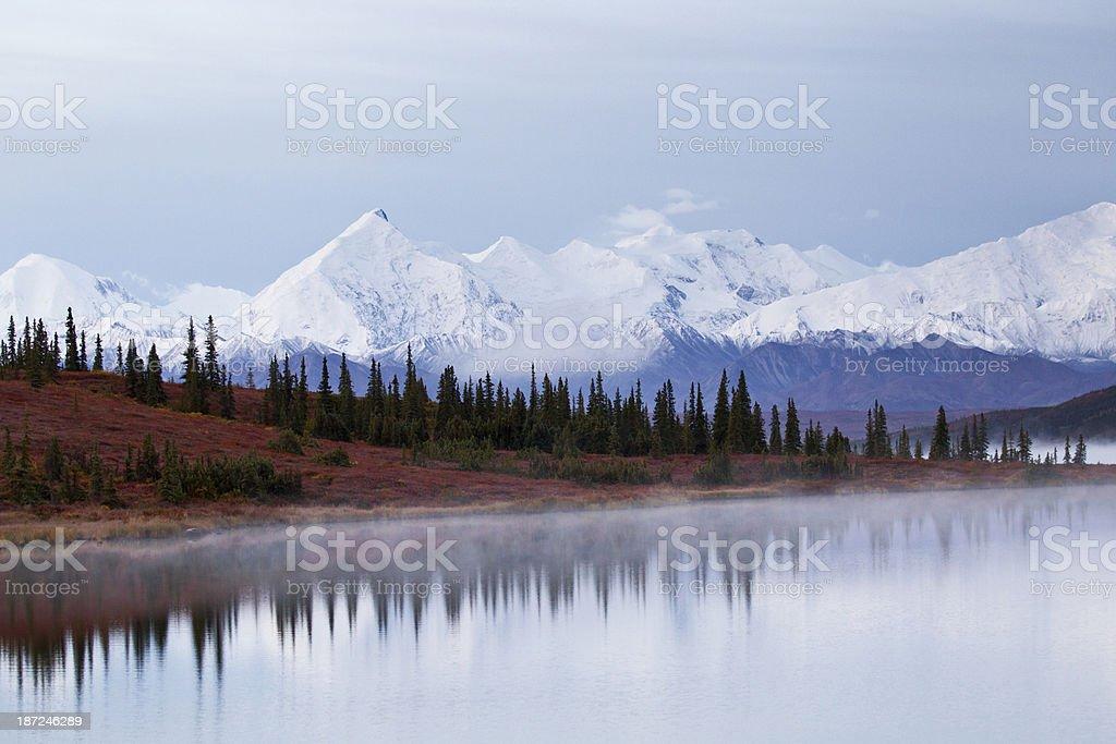 Reflections on Wonder Lake with Mt Brooks in Alaska Range stock photo
