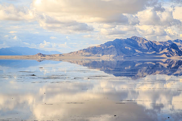 Reflections Amazing reflections in the recent rain water of the Bonneville Salt Flats, Utah bonneville salt flats stock pictures, royalty-free photos & images