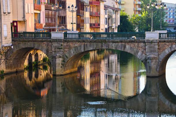 Reflections under the bridge stock photo