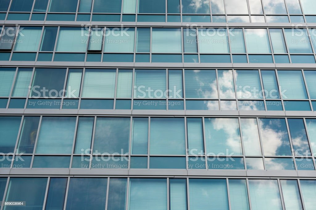 Reflective Chicago Office Building Exterior Business Backgrounds stock photo