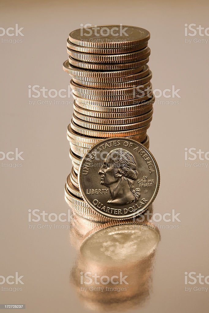 Reflective Coins stock photo
