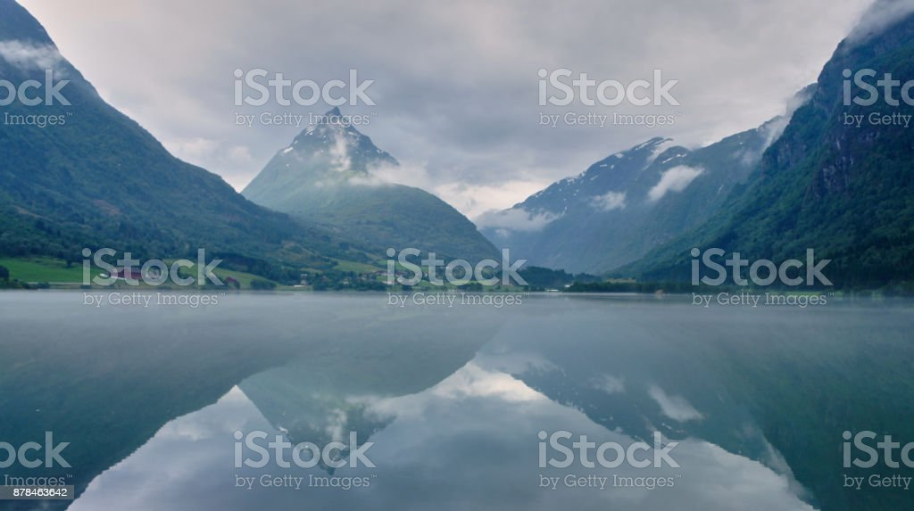 A reflective Fjord stock photo
