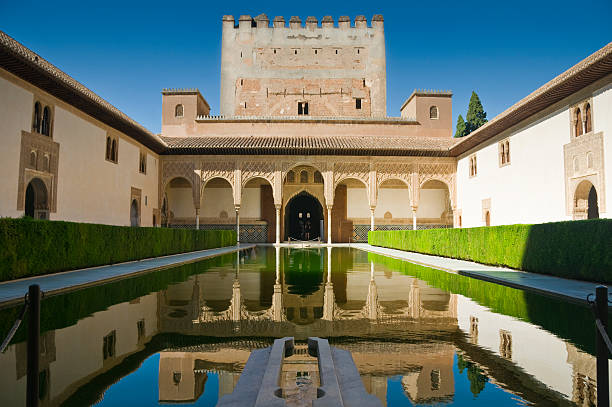 Reflective pond by Palacios Nazaries Palacios Nazaries, a part of the Alhambra in Granada, Spain. Reflection in water. palacios nazaries stock pictures, royalty-free photos & images