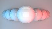 Reflective spheres in vivd neon light. 3d rendering.