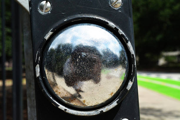 reflective street light button - deign stock pictures, royalty-free photos & images