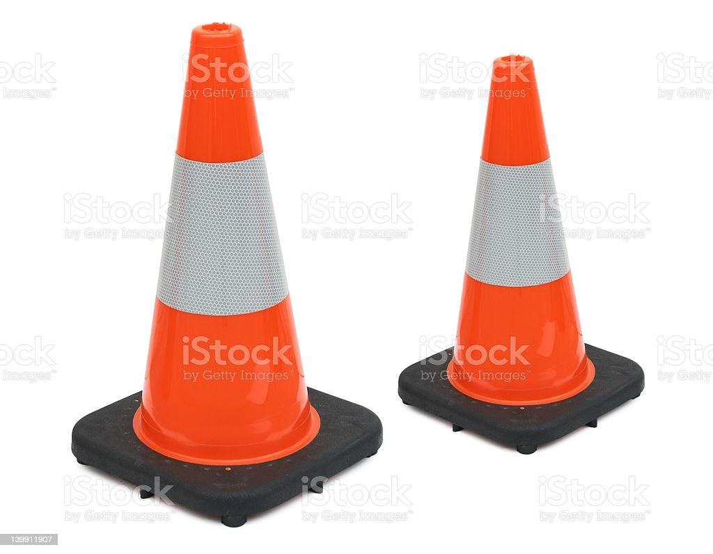reflective traffic cones royalty-free stock photo