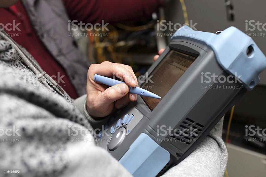 Reflectometer of fibre optic stock photo