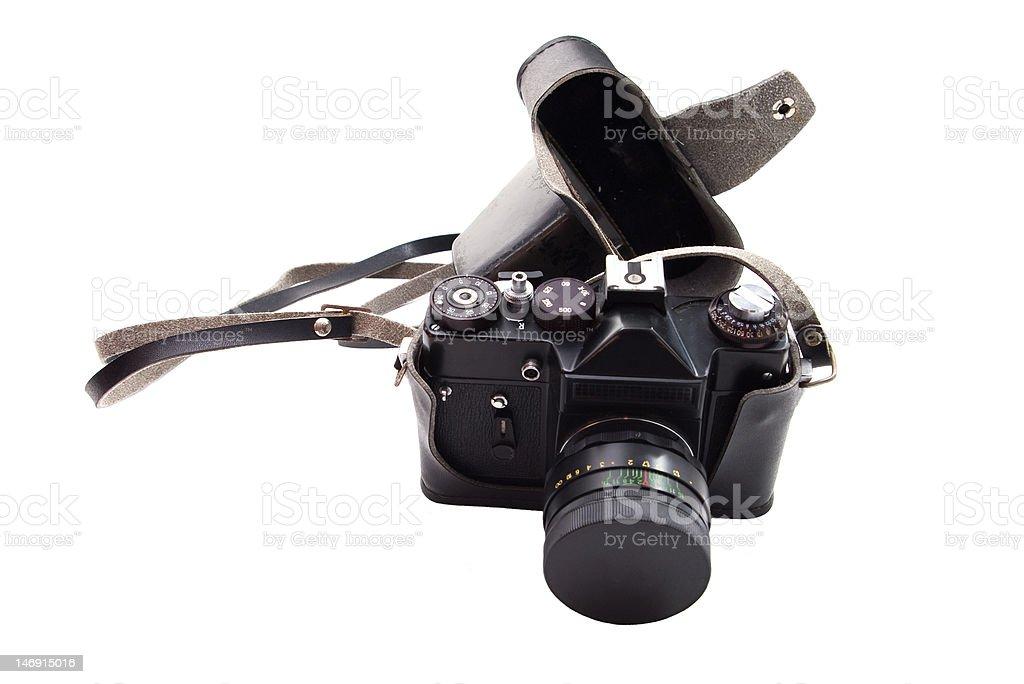 reflex camera An old film reflex camera isolated on white Camera - Photographic Equipment Stock Photo