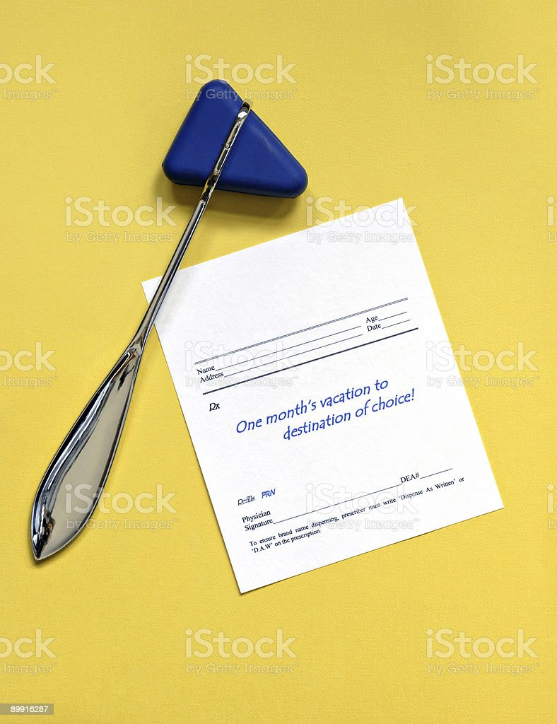 Reflex Hammer with Presciption for vacation royalty-free stock photo