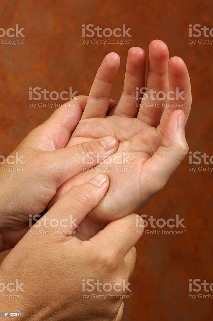 Reflexology Hand Massge At Wellness Center royalty-free stock photo