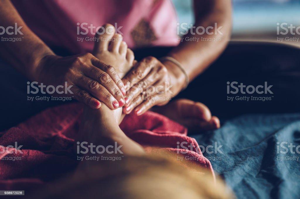 Reflexology Thai massage! stock photo