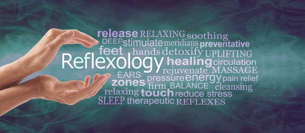 Reflexology Therapy Word Tag Cloud Banner female cupped hands with the word REFLEXOLOGY floating between surrounded by a relevant word tag cloud on a deep marine green flowing background foot massage stock pictures, royalty-free photos & images